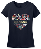Ladies Navy Indiana Love - Indiana Home State Cute Indy 500 Pride Fun T-shirt