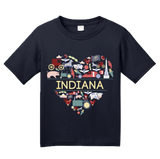 Youth Navy Indiana Love - Indiana Home State Cute Indy 500 Pride Fun T-shirt