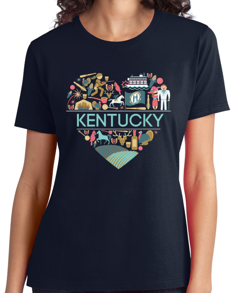 Ladies Navy Kentucky Love - Kentucky Pride Bluegrass Banjo Cute Bourbon T-shirt