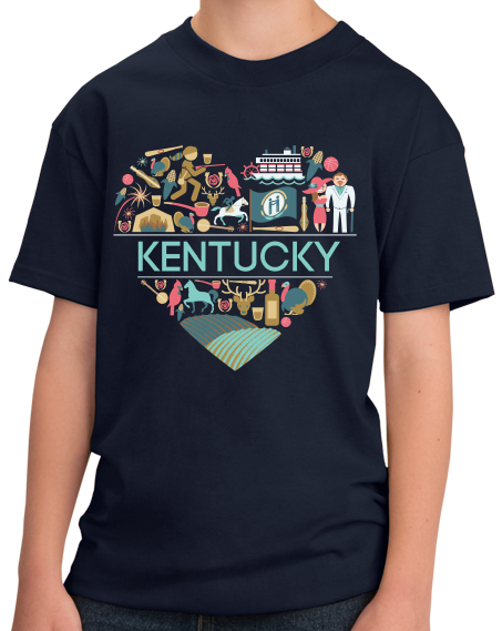 Youth Navy Kentucky Love - Kentucky Pride Bluegrass Banjo Cute Bourbon T-shirt