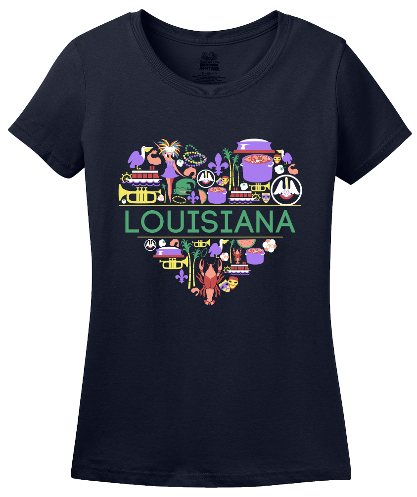 Ladies Navy Louisiana Love - Louisiana Pride New Orleans Gumbo Mardi Gras T-shirt