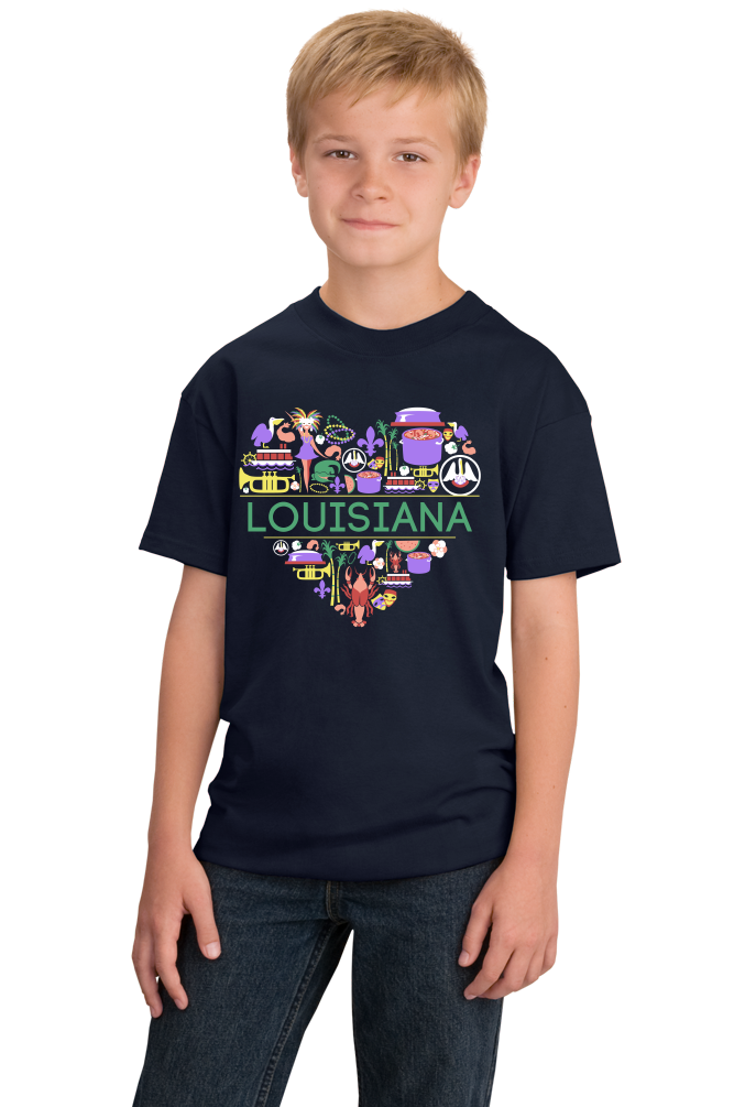 Youth Navy Louisiana Love - Louisiana Pride New Orleans Gumbo Mardi Gras T-shirt