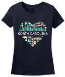 Ladies Navy North Carolina Love - NC Pride Culture Raleigh Duke Cute Fun T-shirt