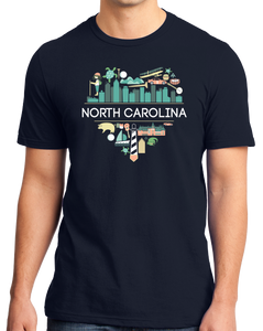 Standard Navy North Carolina Love - NC Pride Culture Raleigh Duke Cute Fun T-shirt