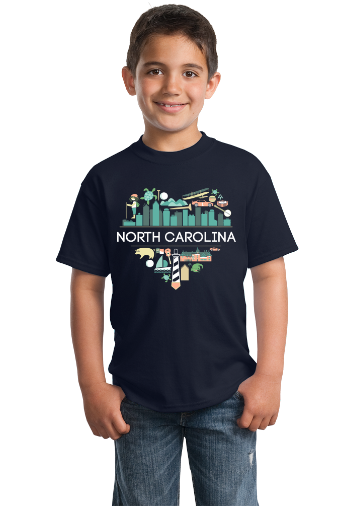 Youth Navy North Carolina Love - NC Pride Culture Raleigh Duke Cute Fun T-shirt