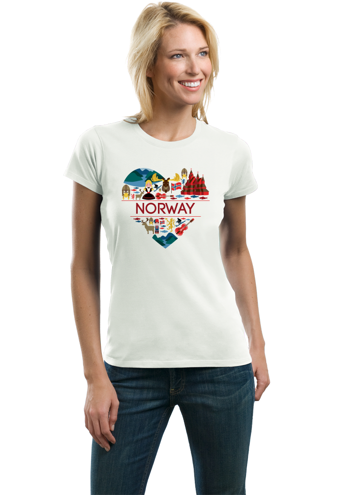 Ladies White Norway Love - Norwegian Pride Oslo Bergen Girly Cute Symbols T-shirt