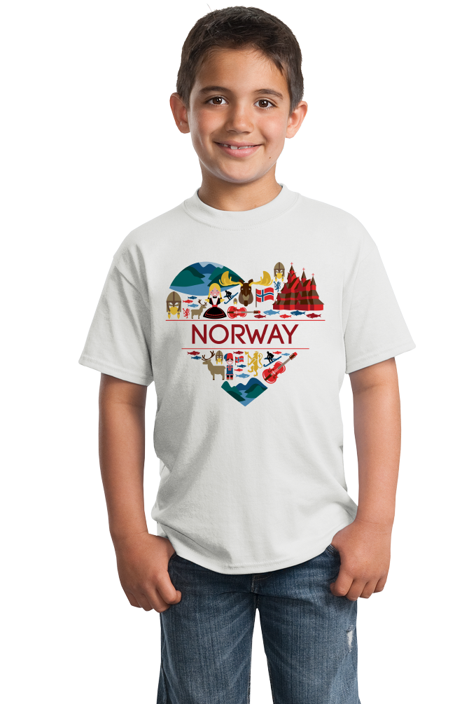 Youth White Norway Love - Norwegian Pride Oslo Bergen Girly Cute Symbols T-shirt