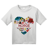 Youth White Norge Love - Norwegian Heritage Pride Culture Oslo Bergen Cute T-shirt