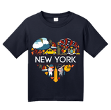 Youth Navy New York Love - NY Pride NYC Adirondacks Empire State Symbols T-shirt
