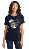 Ladies Navy Oregon Love - Oregon Pride Portland Trail Pioneers Culture Cute T-shirt