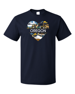 Standard Navy Oregon Love - Oregon Pride Portland Trail Pioneers Culture Cute T-shirt
