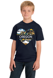 Youth Navy Oregon Love - Oregon Pride Portland Trail Pioneers Culture Cute T-shirt