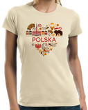 Ladies Natural Polska Love - Polish Heritage Pride Symbols Landmarks Cute T-shirt