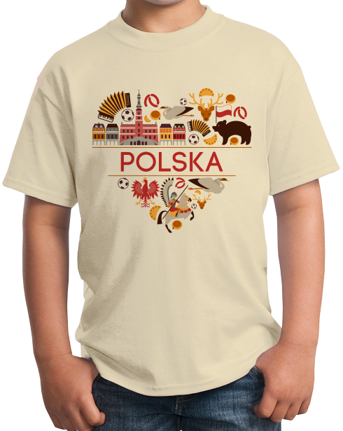 Youth Natural Polska Love - Polish Heritage Pride Symbols Landmarks Cute T-shirt