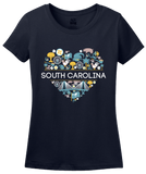 Ladies Navy South Carolina Love - SC Pride Charleston Heritage Icons Cute T-shirt