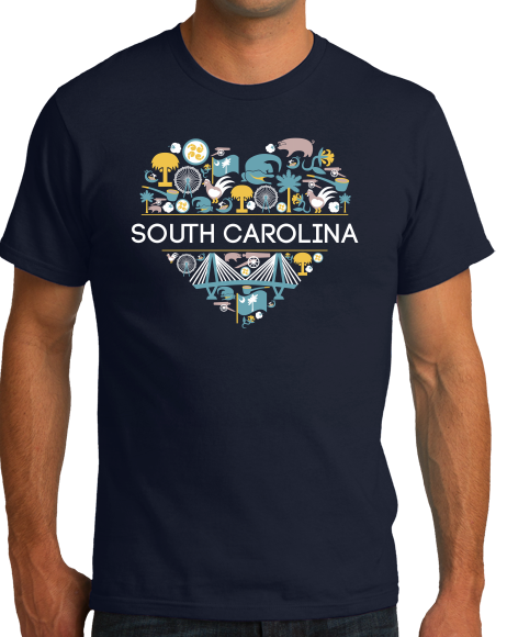 Standard Navy South Carolina Love - SC Pride Charleston Heritage Icons Cute T-shirt