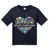 Youth Navy South Carolina Love - SC Pride Charleston Heritage Icons Cute T-shirt