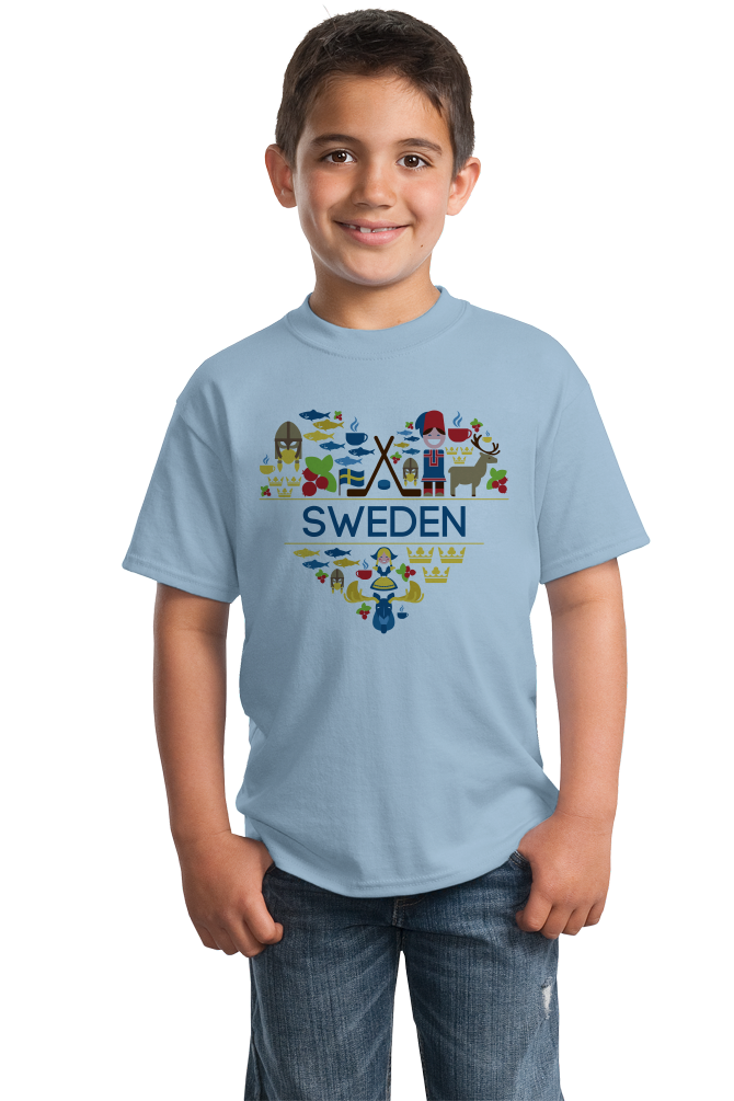 Youth Light Blue Sweden Love - Swedish Pride Heritage Culture Symbols Cute T-shirt