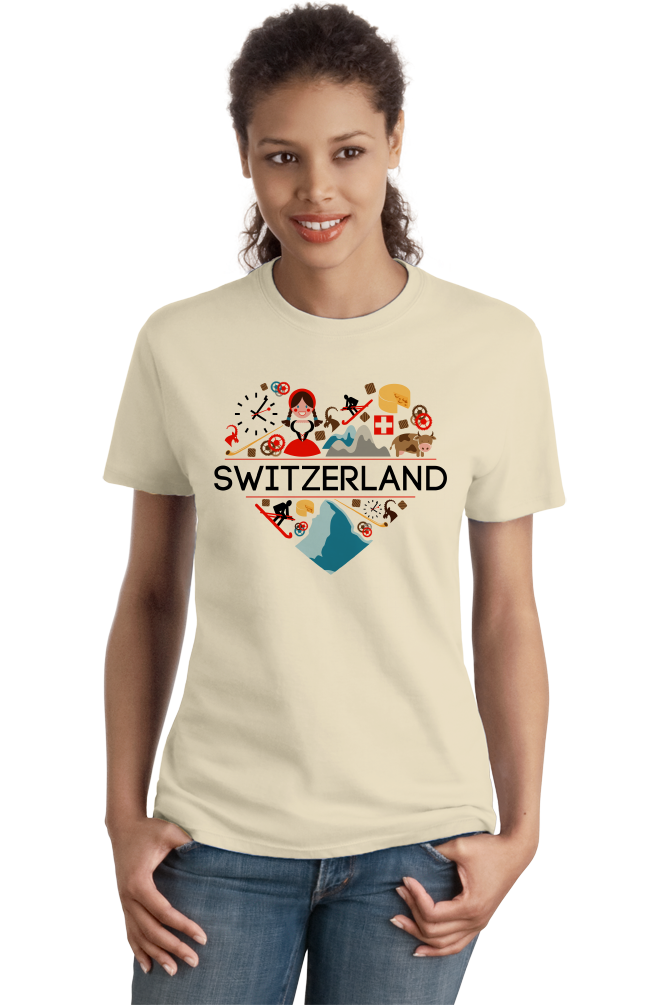 Ladies Natural Switzerland Love - Swiss Pride Heritage Culture Alps Zurich Cute T-shirt