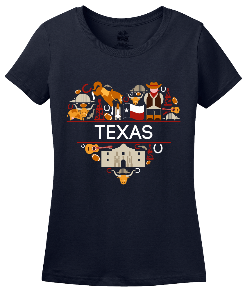 Ladies Navy Texas Love - Texan Pride Lone Star State Heritage Culture Alamo T-shirt