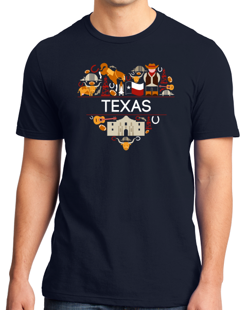 Standard Navy Texas Love - Texan Pride Lone Star State Heritage Culture Alamo T-shirt
