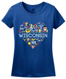 Ladies Royal Wisconsin Love - WI Pride Culture Cheese Madison Cute Icon T-shirt