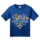 Youth Royal Wisconsin Love - WI Pride Culture Cheese Madison Cute Icon T-shirt