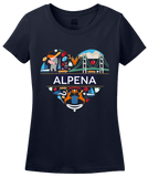 Ladies Navy Alpena Icon Heart - Michigan Love Pride Heritage Culture Cute T-shirt