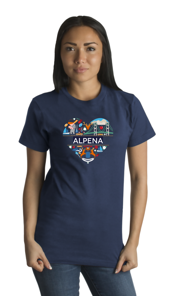 Standard Navy Alpena Icon Heart - Michigan Love Pride Heritage Culture Cute T-shirt
