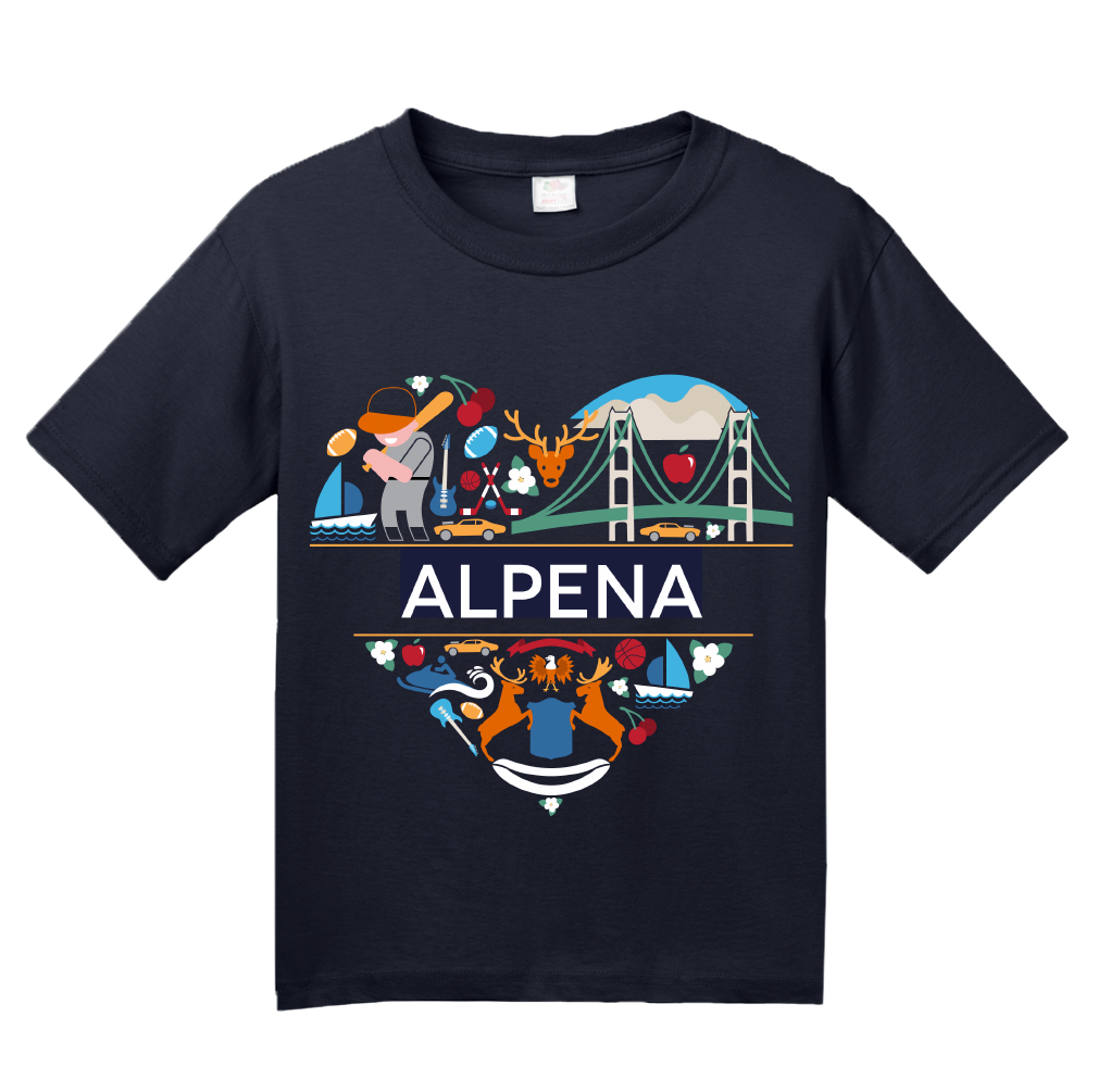 Youth Navy Alpena Icon Heart - Michigan Love Pride Heritage Culture Cute T-shirt