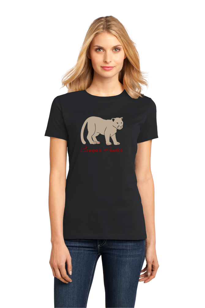 Ladies Black Cougar Hunter - Hunting Joke Double Meaning Bar Funny T-shirt