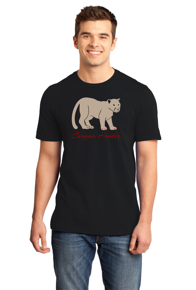 Standard Black Cougar Hunter - Hunting Joke Double Meaning Bar Funny T-shirt
