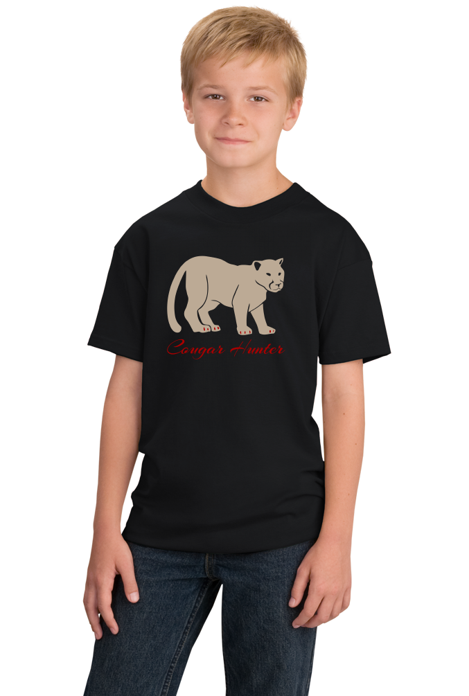 Youth Black Cougar Hunter - Hunting Joke Double Meaning Bar Funny T-shirt