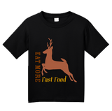 Youth Black Eat Fast Food - Deer Hunter Humor Venison Joke Hunting Pride