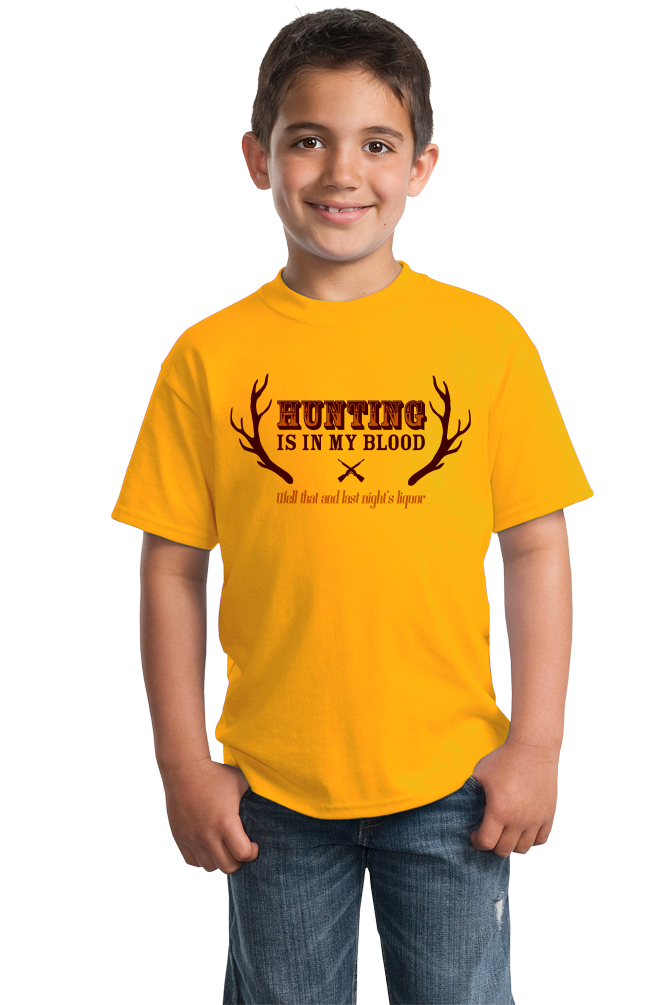 Youth Gold Hunting & Liquor Are In My Blood - Hunting Humor Joke Sarcasm T-shirt