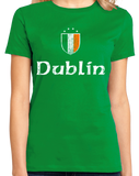 Ladies Green Dublin, Ireland Shield - Eire Irish Pride Heritage James Joyce T-shirt