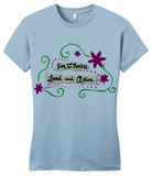 "Girly Light Blue Jim and the Povolos ""Loved and Alive""  T-shirt"