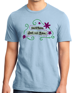 "Standard Light Blue Jim and the Povolos ""Loved and Alive""  T-shirt"