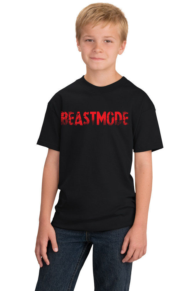Youth Black Beastmode - Body Building Strength Training Beast Gym Funny