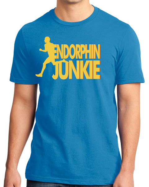 Standard Aqua Blue Endorphin Junkie- Extreme Sports Workout Fitness T-shirt