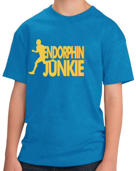 Youth Aqua Blue Endorphin Junkie- Extreme Sports Workout Fitness T-shirt