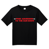 Youth Black Free Admission To The Gun Show - Gym Rat Bodybuilder Fitness T-shirt