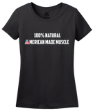Ladies Black Natural American Muscle - Bodybuilding Weight Lifiting Pride Fan