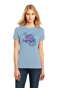 Ladies Light Blue I Left my Heart in Brighton, MI | Michigan Pride Ladies  T-shirt