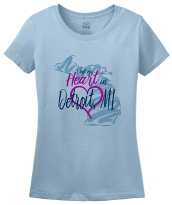 Ladies Light Blue I Left my Heart in Detroit, MI | Michigan Pride Ladies  T-shirt