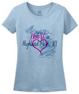 Ladies Light Blue I Left my Heart in Highland Park, MI | Michigan Pride Ladies  T-shirt