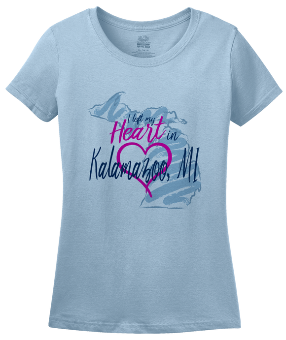 Ladies Light Blue I Left my Heart in Kalamazoo, MI | Michigan Pride Ladies  T-shirt