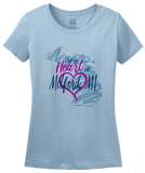 Ladies Light Blue I Left my Heart in Milford, MI | Michigan Pride Ladies  T-shirt