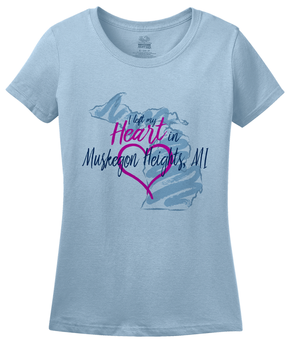 Ladies Light Blue I Left my Heart in Muskegon Heights, MI | Michigan Pride Ladies  T-shirt
