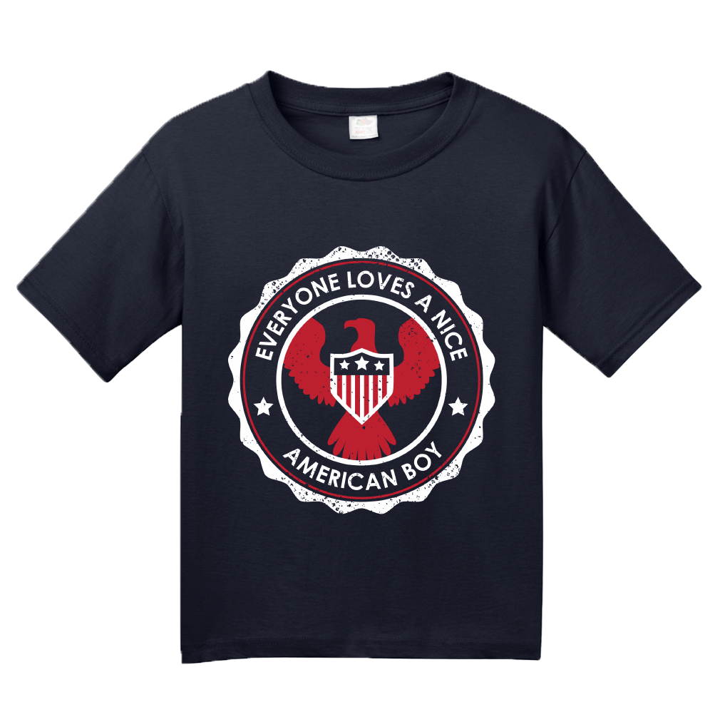 Youth Navy Everyone Loves A Nice American Boy - American Pride 4th of July T-shirt